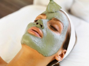 Woman receiving face spa therapy