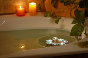 relax in bath with candles
