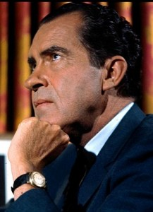 Former American president, Richard Nixon, pictured in 1968 when he was seeking the Republican presidential nomination.