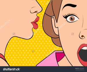 stock-vector-beautiful-retro-woman-whispering-a-gossip-to-her-surprised-friend-vintage-art-290164499