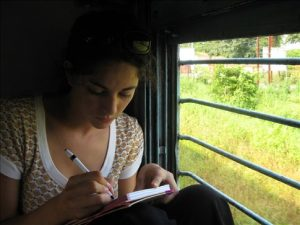 Writing in train