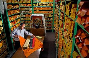 Mr Sonam Topgyal reviewing the conservation status of the Kanjur, words of buddha, in Library of tibetan works and archives, Dharamsala, Himachal Pradesh state, India, Asia