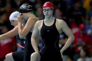 OMAHA, NE - JUNE 30: Katie Ledecky of the United States prepares to compete in a semi-final heat for the Women's 100 Meter Freestyle during Day Five of the 2016 U.S. Olympic Team Swimming Trials at CenturyLink Center on June 30, 2016 in Omaha, Nebraska. (Photo by Tom Pennington/Getty Images)