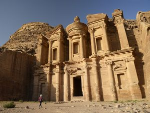 26 Oct 2014, Petra, Jordan --- Jordan, Nabataean archeological site of Petra, listed as World Heritage by UNESCO, the famous and elaborately carved facade of Al Deir (the Monastery), carved out of a sandstone rock face --- Image by © GARCIA Julien/Hemis/Corbis