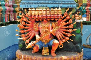 Hindu shrine for 10 headed god Ravana on Nainativu island at Hindu temple Sri Naga Pooshani Amman Kovil, Sri Lanka